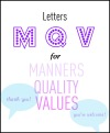 Letters M, Q, V for Manners